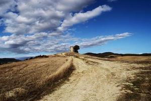 bruin veld onder blauwe lucht en witte wolken overdag