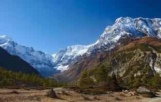 uitzicht op de annapurnaberg van nepal foto