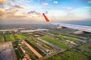 hoge kijkhoek op het vliegplan