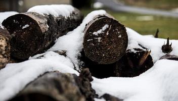 gehakt brandhout bedekt met sneeuw