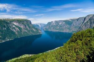 zomertijd uitzicht op sognefjord vanuit stegastein gezichtspunt, noorwegen foto