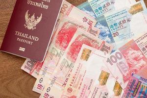 paspoort van thailand met de valuta van hongkong foto