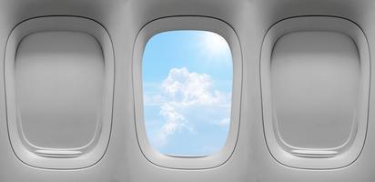 drie vliegtuigramen aan de binnenkant