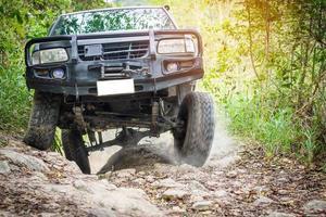 vrachtwagen rijden in het bos