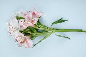 bovenaanzicht van een boeket van roze kleur alstroemeria bloemen