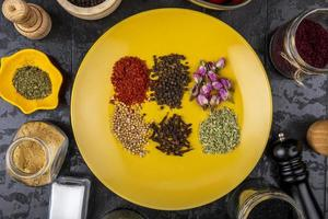 bovenaanzicht van een reeks specerijen en kruiden foto