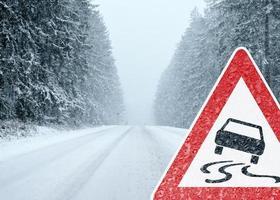 rijden in de winter - let op - risico op sneeuw en ijs
