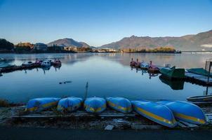 Lake Kawaguchi bij de zonsopgang, Kawaguchi-ko, Japan