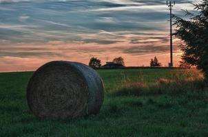 hooibalen op een weide in zonsondergang
