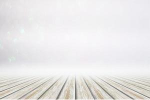 witte houten vloer op bokeh achtergrond