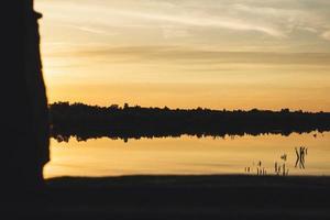silhouet van land bij zonsondergang