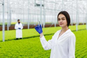 vrouwelijke onderzoeker houdt een glazen buis vast met een monster
