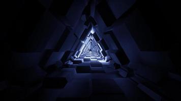 een 3D-afbeelding futuristische driehoek ruimtetunnel