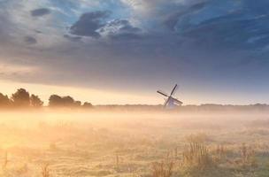 windmolen in mist bij zonsopgang