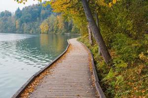 loopbrug bij het meer. foto