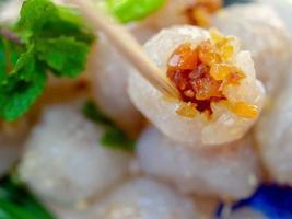 Thais dessert straatvoedsel genaamd saku sai moo