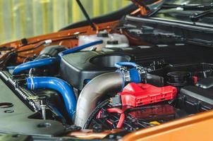 close-up van de motor van een auto foto
