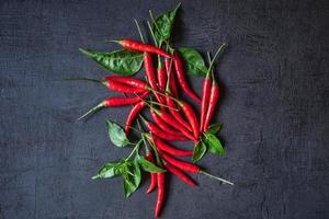 rode chili op zwarte achtergrond foto