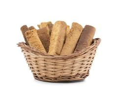 toast stick snacks in een mand foto