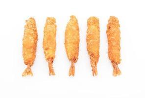 -beslag-gebakken garnalen op witte achtergrond foto