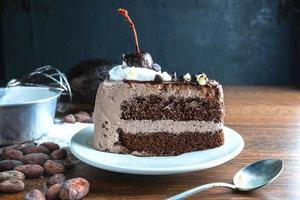chocoladetaart plak