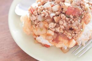 gebakken varkensvlees en tomatensaus