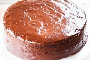close-up van een chocoladetaart
