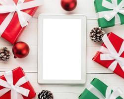 vrolijk kerstfeest tabletcomputer mockup