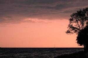 zeilboot in zee tijdens gouden uur foto