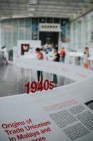 singapore, 2020 - informatiebord uit de jaren 40 in het nationale museum van singapore