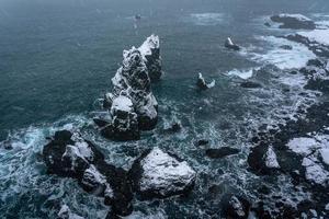 zwart-witte rotsformaties aan zee