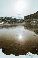 bevroren water en stukjes ijs in een bevroren meer