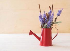 statice en caspia bloemen op houten achtergrond