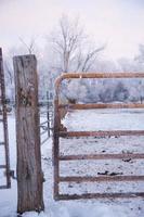 metalen en houten hek in de sneeuw