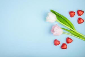 tulpen en hartvormige chocolaatjes op een blauwe achtergrond