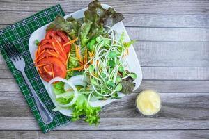 verse salade op een bord