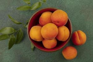 bovenaanzicht van abrikozen in een kom foto