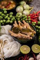 rijstnoedels en kippenpoten met chili