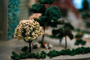 close-up van een kleine miniatuurboom met bloemen in een park