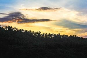 prachtige zonsondergang met bergen en palmen in Koh Samui. Thailand