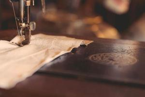 close-up van een naaimachine
