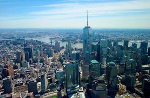 new york city, ny, 2020 - luchtfoto van de skyline van new york foto