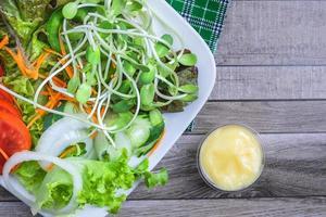 close-up bovenaanzicht van salade