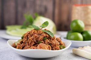 pikant gerecht van varkensgehakt