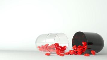 medische pil met rode harten