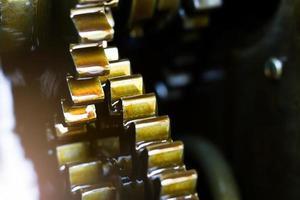 motor versnellingen van de tractor foto