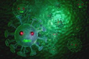 covid-19 cel onder de microscoop foto