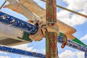 steigerbuisklem en onderdelen, een belangrijk onderdeel van het bouwen van sterkte aan steiger. foto