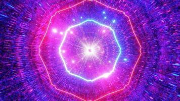 gloeiende neon ruimtetunnel met koele deeltjes 3d illustratie achtergrondbehangkunstontwerp foto