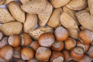 bovenaanzicht van gemengde noten in shell hazelnoten en amandel op witte achtergrond